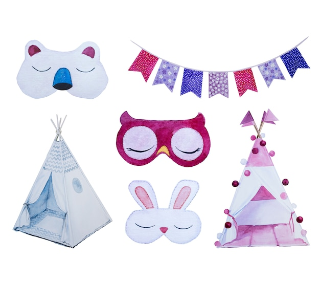 Aquarellaugenmaske clipart satz lokalisiert. spamber party design illustration.