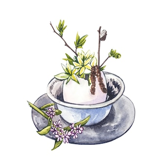 Aquarellbecher mit vogeleier und frühlingsblumen. hand zeichnen aquarellillustrationen auf weißem hintergrund. ostersammlung.