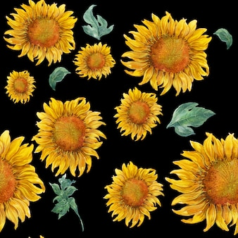 Aquarellblatt und nahtloses muster der sonnenblume