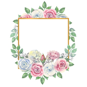 Aquarellblaue und rosa rosenblumen, grüne blätter, beeren in einem goldenen quadratischen rahmen
