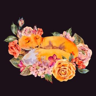 Aquarellblumenfuchs-grußkarte, schlafenfuchs, rosen, hortensie, wildblumen.