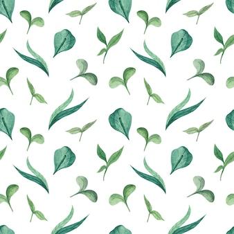 Aquarellblumenmuster mit jungen grünen grashalmen und jungen grünen sprossen