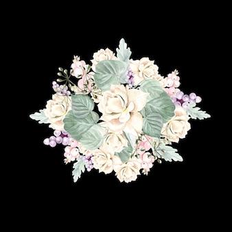 Aquarellblumenstrauß mit blumen, rosen, pflanzen, beeren und blättern. illustration