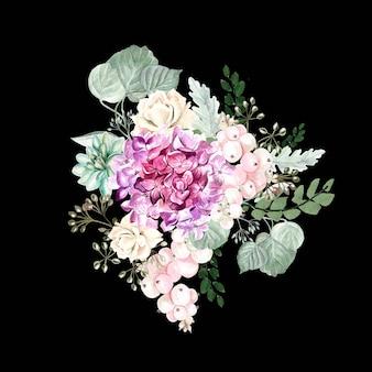 Aquarellblumenstrauß mit hortensienblüten, rosen, sukkulenten, beeren und blättern. illustration
