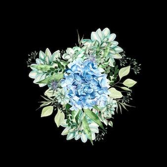 Aquarellblumenstrauß mit hortensienblüten, sukkulenten und blättern. illustration