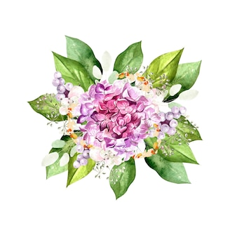 Aquarellblumenstrauß mit hudrangeablumen, pflanzen und blättern. illustration