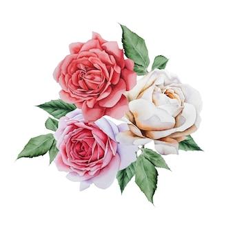 Aquarellblumenstrauß mit rosen. illustration. handgemalt.