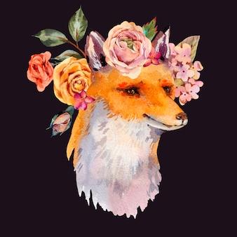 Aquarellblumenwaldfuchs-grußkarte, rosen, hortensie, wildblumen.