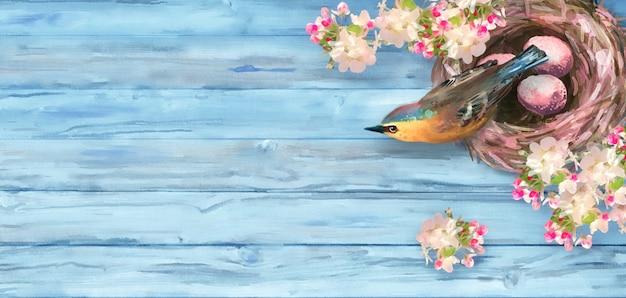 Aquarellfrühlingshintergrund. osterkomposition mit einem vogel am nest und an den frühlingsblumen