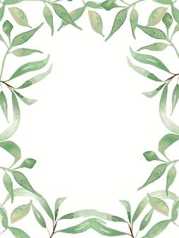 Aquarellgrün verlässt illustrationshintergrund. grün hochzeitseinladungskarten clipart. speichern sie das datum laub modernen rahmen.