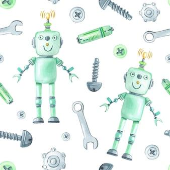Aquarellgrüne roboter und werkzeuge auf weißem hintergrund.