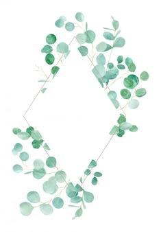 Aquarellgrüner blumenrahmen mit eukalyptus. handgemaltes muster mit zweigen eukalyptus. perfekt für hochzeitsdesign