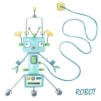Aquarellgrüner roboter auf weißem hintergrund mit robotertext.