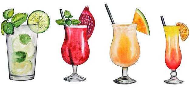 Aquarellhand, die viele mehrfarbige cocktails auf einem weiß zeichnet