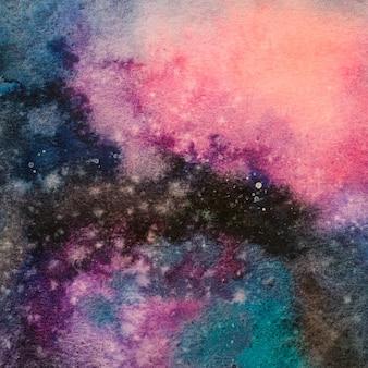Aquarellhandmalerei der abstrakten galaxie der kunst, kosmische nacht mit stern maserte hintergrund.