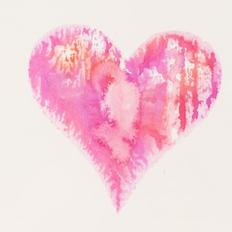 Aquarellherz. valentinstag großartige karte, liebe, beziehung, kunst, malerei.