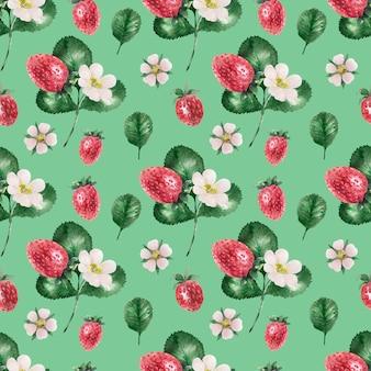 Aquarellhintergrund mit reifen erdbeeren