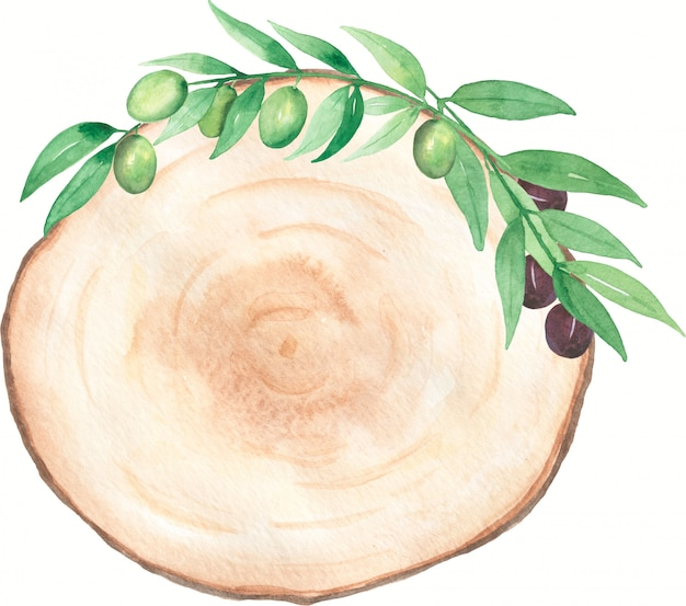 Aquarellholzscheibe clipart mit olivenzweigstrauß. moderne grüne laubkranzillustration. hochzeitseinladungskarte. hand gezeichnete frühlingsgrünblätter anordnung. hochzeitsdekor.