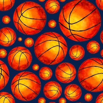 Aquarellillustration basketball ball nahtloser hintergrund ideal für tapeten deckt verpackungen