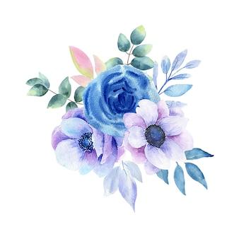 Aquarellillustration der blauen blumen
