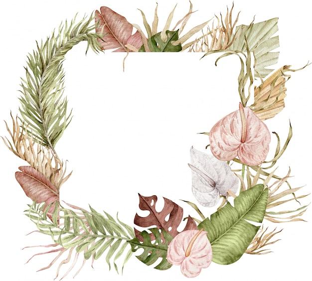 Aquarellillustration des quadratischen tropischen rahmens mit exotischen blättern und anthuriumblumen