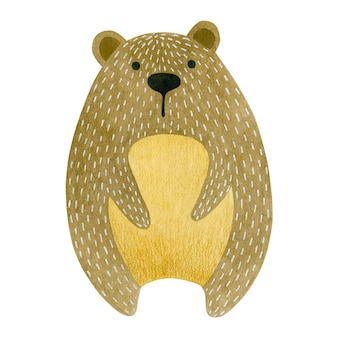 Aquarellillustration des teddybären lokalisiert auf weißem hintergrund