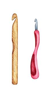 Aquarellillustration einer reihe von häkelnadeln aus holzmetall-diy-werkzeugen für handarbeitskreativität