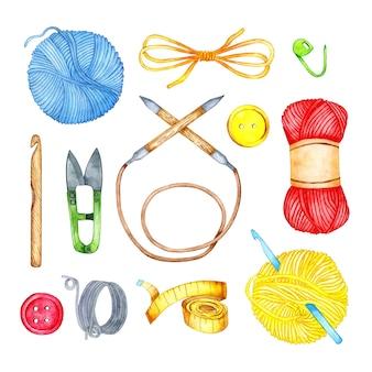 Aquarellillustration einer reihe von strickwerkzeugen stricknadeln haken fadenknäuel
