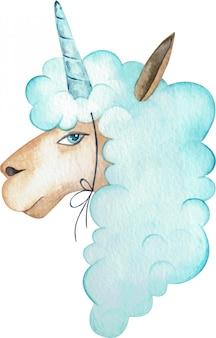 Aquarellillustration eines blauen misstrauischen alpakas mit einem horn auf dem kopf. ein einhorn-lama-porträt.