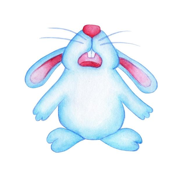 Aquarellillustration eines blauen süßen osterhasen, der traurig enttäuscht ist und weint zeichnung eines hasen für eine postkarten-babyparty oder kleidung ostertraditionen religion isoliert auf weiß