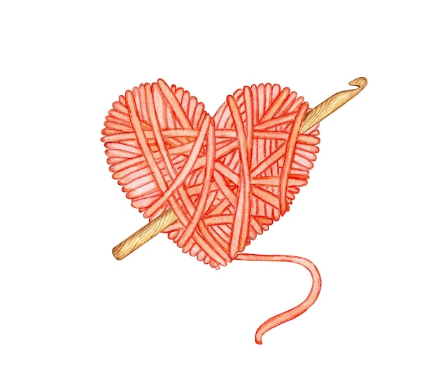 Aquarellillustration eines roten wollknäuels in form eines herzens mit einer häkelarbeit darin