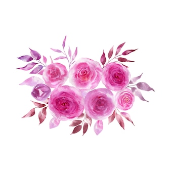 Aquarellillustration eines straußes von blauen rosen und zweigen.
