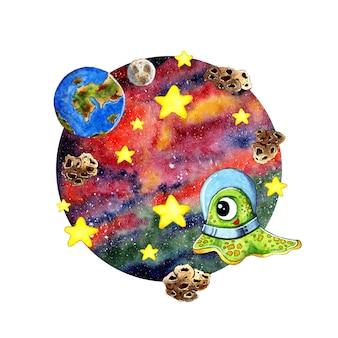 Aquarellillustration eines süßen kleinen außerirdischen, der die erde aus dem weltraum betrachtet ein grüner außerirdischer