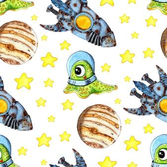 Aquarellillustrationsmuster alien in einem raumanzug in den weltraumsternen-planeten-raketen-abenteuern