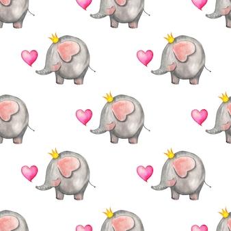 Aquarellillustrationsmuster niedlicher elefant in der krone mit herz nahtloser wiederholender feiertagsdruck