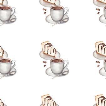 Aquarellkaffee mit nahtlosem muster des käsekuchens.