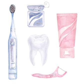 Aquarellkomposition zum thema zahnmedizin. elemente der zahnpflege