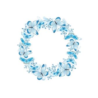 Aquarellkranz mit blauen schmetterlingen