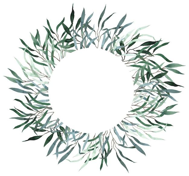 Aquarellkranz mit grünen weiden-eukalyptusblättern. sommergrün-vorlage. hochzeitsblumeneinladungsrahmen.