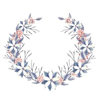 Aquarellkranz mit roten und weißen weihnachtssternblumen, schneeblume und dekorativen zweigen