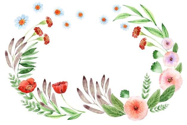 Aquarellkranz mit verschiedenen dekorativen blumen und blättern