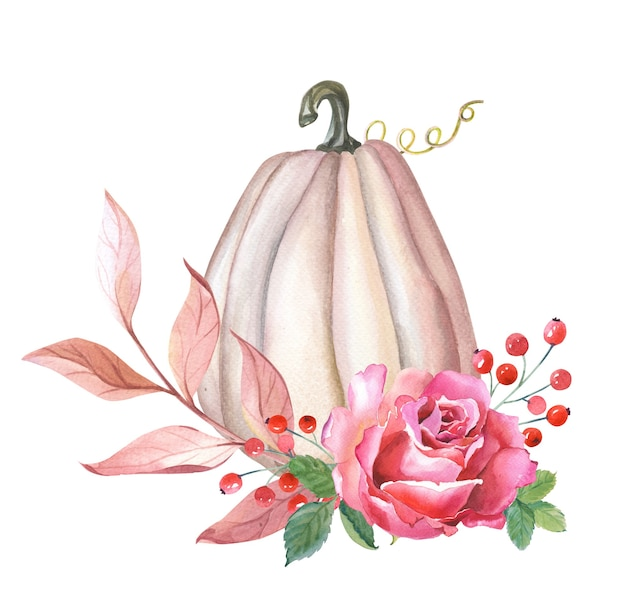 Aquarellkürbis, rosa rose, blätter, rote beere auf weißem hintergrund. herbst-arrangement. illustration für erntedankfest. frische ernte. isolierte handgezeichnete skizze.