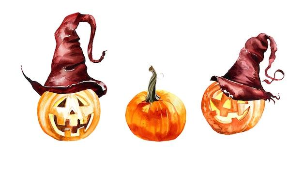 Aquarellkürbisse im hut halloween illustrationsset lokalisiert auf einem weißen hintergrund.