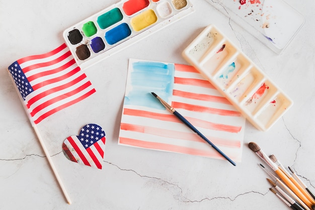 Aquarellmalerei der amerikanischen flagge