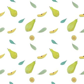 Aquarellmalerei der grünen birnenfrüchte