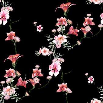 Aquarellmalerei des blattes und der blumen, nahtloses muster auf dunklem hintergrund
