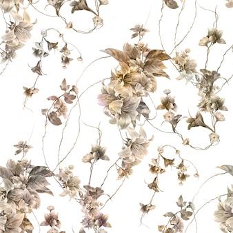 Aquarellmalerei des blattes und der blumen, nahtloses muster auf weiß