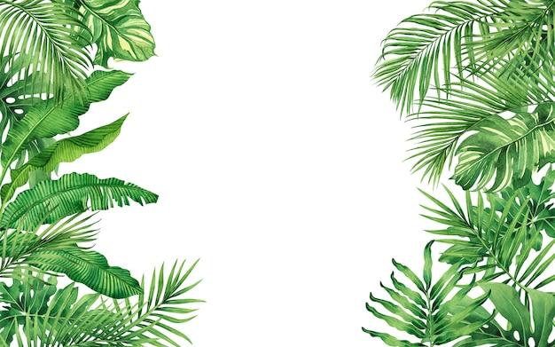 Aquarellmalerei grüner tropischer blätter nahtloser musterhintergrund.