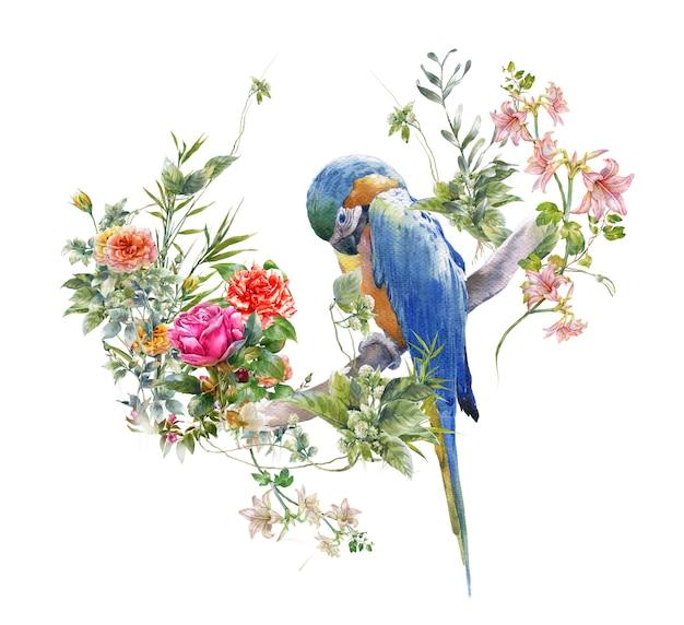 Aquarellmalerei mit vogel und blumen, auf weiß