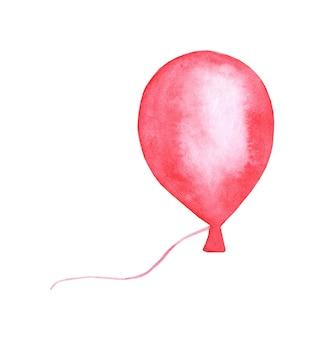 Aquarellmalerei rotes ballongekritzel festlicher hintergrund für grußkartenpartyeinladung